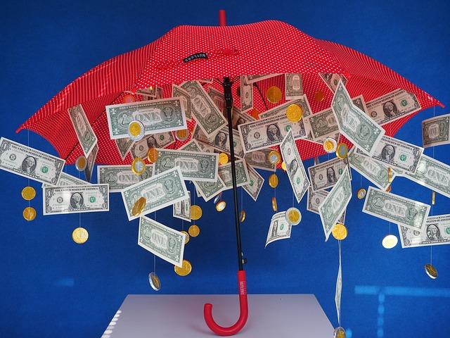 červený deštník, peníze, mince, puntíky
